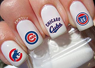 Chicago Cubs Water Nail Art Transfers Stickers Decals - Set of 56