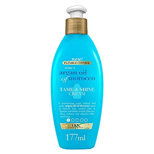 OGX Aceite de Argán de Marruecos, crema para peinar y dar brillo, pelo radiante, suave, brillante, 177 ml