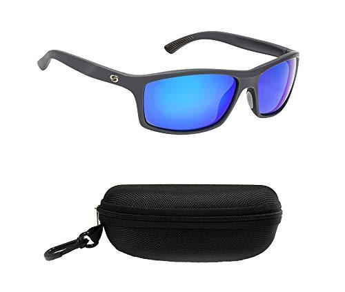 Strike King SG-S1196-CS S11 Brazos Polarized Sunglasses, UVA/UVB Protection, Matte Black Frame, Multi-Layer White Blue Mirror Gray Base Lens with Black Case, One Size