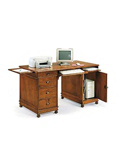 Bureau, bureau à 4 tiroirs, 1 porte en bois massif Art povera