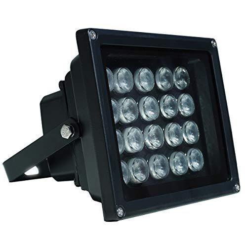 JC - Iluminador infrarrojo de 64 m, 20 ledes de gran angular de 90 grados para visión nocturna, luz de inundación infrarroja LED impermeable negro