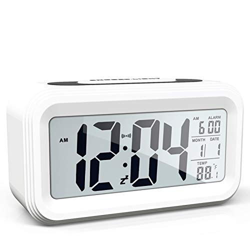 AYRELY Battery Operated Cordless Digital Alarm Clock with Date,Temperature,Smart Sensor Light,12/24Hr,Snooze for Bedrooms,Office,Heavy Sleepers,Kids(White)