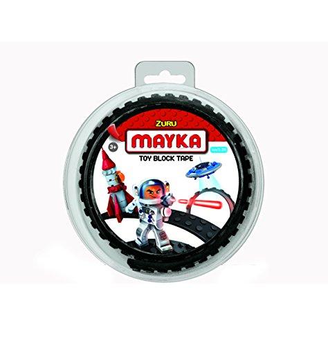 Mayka 34639 - Klebeband für Lego Bausteine, 1 m selbstklebendes Band mit 2 Noppen, schwarzes Bausteinband, flexibles Noppenband zum Bauen mit Legosteinen für Kinder ab 3 Jahre, wiederverwendbar