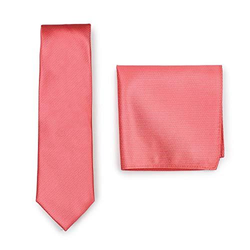 PUCCINI Krawatte mit Einstecktuch, einfarbiges Krawatten-Set, Tuch und Herrenkrawatte (Koralle)
