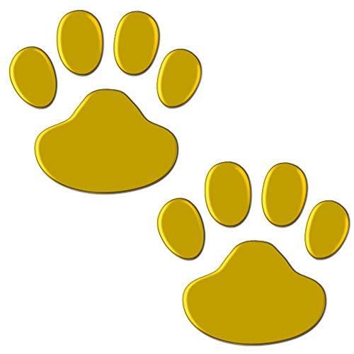 Golden Adhesive Cool Design Dog Cat Foot Print Car Window Animal Paw 3D Car Stickers Car Stickers Bear Foot Prints Bear Paw Stickers(4 Set,Gold)