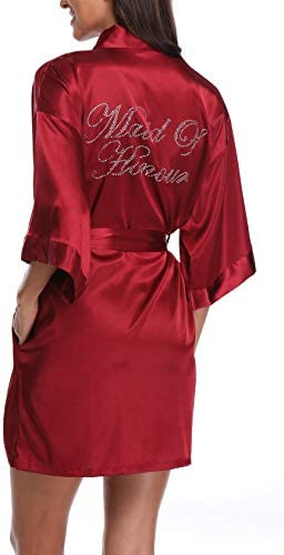 SUGAR JAN Women s Silk Pure Color Robe for Maid of Honor Short Wedding Party Nightgown Wine product image