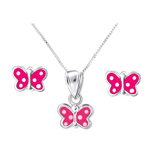 SL-Silver - Set con collana e orecchini per bambini, in argento 925 con ciondolo con cristalli a forma di farfalla rosa, in confezione regalo