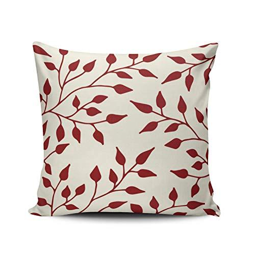 SUN DANCE Funda de almohada con diseño de hojas, color burdeos y blanco, 40,6 x 40,6 cm