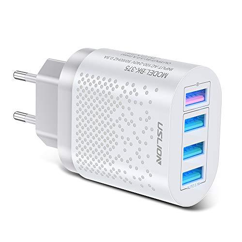 PINGHE Adaptador de carga USB – Adaptador de corriente de cargador de pared USB 3.0 de 4 puertos para enchufe USA/EU con función de carga rápida – Adaptador de cargador de viaje portátil