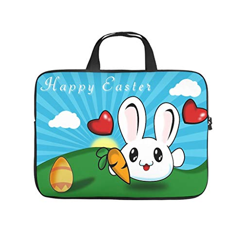 Happy easter eggs Laptop bag Pattern Laptop Case Bag vintage Waterproof Laptop Handbag with Portable Handle for Women Men white 17 zoll