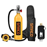 roadwi Smaco S400B Mini Scuba Diving Gear Portable Spare Air Diving Tank Equipment Inflatable Diving Cylinder 15-20 Minutes Underwater for Emergency Backup with Adapter-Orange 2021 Upgraded