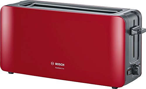 Bosch TAT6A004 ComfortLine Langschlitz-Toaster, Auftaufunktion, automatische Brotzentrierung, Abschaltautomatik, 1090 W, rot
