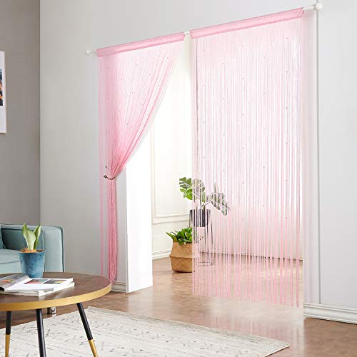 Taiyuhomes Beaded String Curtains with Pearl Beads Dense Fringe Beaded Door Tassel Curtains (39x79,Pink)