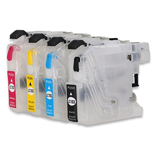 F-INK Empty Refillable Ink Cartridge Replacement For Brother LC103 LC105,Work With MFC-J4510DW J450DW J285DW J470DW J475DW J650DW J870DW J875DW J4610DW J4310DW J4410DW J4710DW J6520DW J6720DW Printer