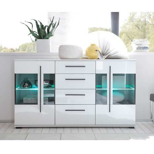 Wohnwand in weiß mit Hochglanz Tiefziefronten und Grauglas, Soft-Close Schubkästen, Gesamtmaße: B/H/T ca. 350 (330)/200/37-42 cm - 5