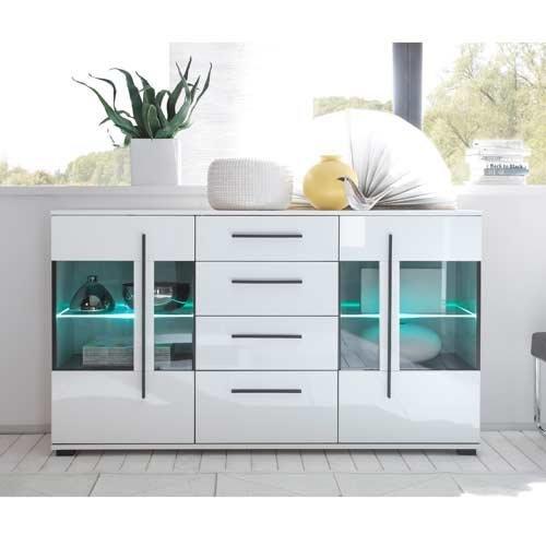 Wohnwand in weiß mit Hochglanz Tiefziefronten und Grauglas, Soft-Close Schubkästen, Gesamtmaße: B/H/T ca. 350 (330)/200/37-42 cm - 4