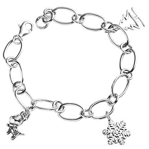 Silver Bracelet For Women,S925 Silver Fashion Wild Bracelet Christmas Snow Bracelet Female Sterling Silver Retro Creative Simple Small Fresh Personalized Clothing Accessories Jewelry Bracelet
