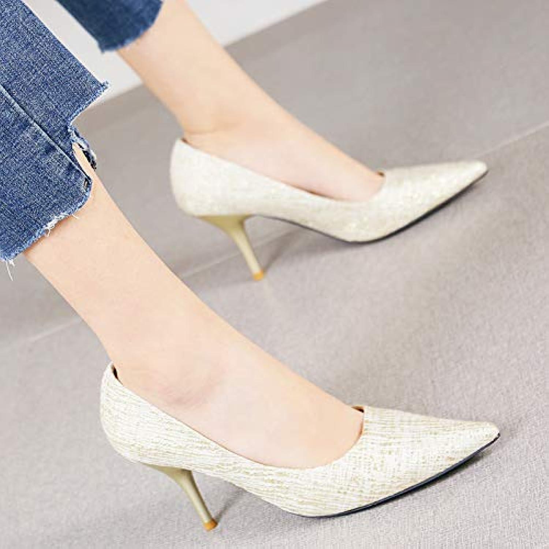 HRCxue Pumps Mode Spitze dünne dünne einzelne Schuhe weibliche Wilde Flache Stckelschuhe, 38, Gold