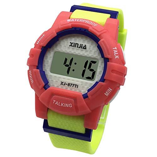 Digitale Sprechende Armbanduhr mit Sound in italienischer Sprache mit Wecker und Uhrzeitbericht für Kinder und Nicht-Sehenswürdige 877TI-3YEL