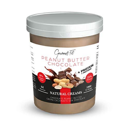 Crema de Cacahuete 1 KG natural sin azucar y sin sal / mantequilla de cacahuetes tostados con sabor a cacao natural Peanut Butter de chocolate sin aceite de palma con 25% de proteina