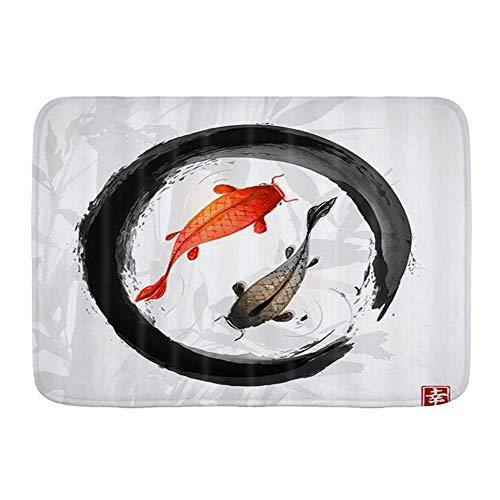 LOSUMIGE Alfombra de Baño para, Carpas Koi japonesas Tradicionales en Black Zen Circle, Alfombrillas de baño Antideslizante de Espuma de Memoria Suave, 75CM x 45CM
