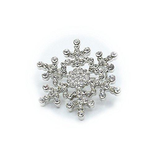 Cosanter Mujer Broche Pin Broches de Copo de nieve de navidad Accesorios de Ropa Suéter Bufanda Decoración (Silver) 3.9 * 3.9 cm