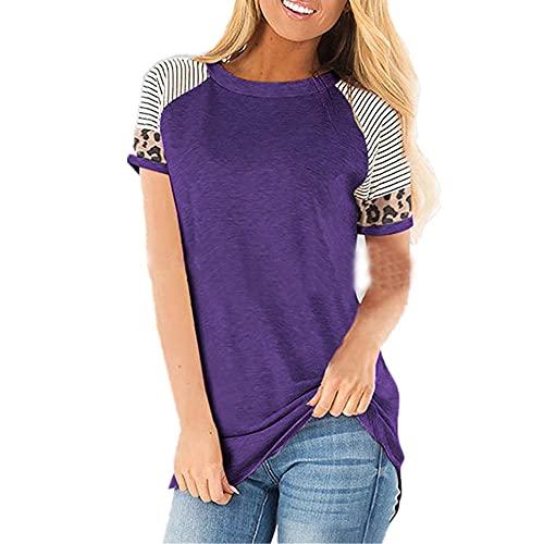 Camisa Mujer Comodidad Cuello Redondo Raya Leopardo Empalme Mujeres Top Diario Playa De Arena Generoso Todo Fsforo Clsico Moda Temperamento Mujeres Blusa I-Purple M