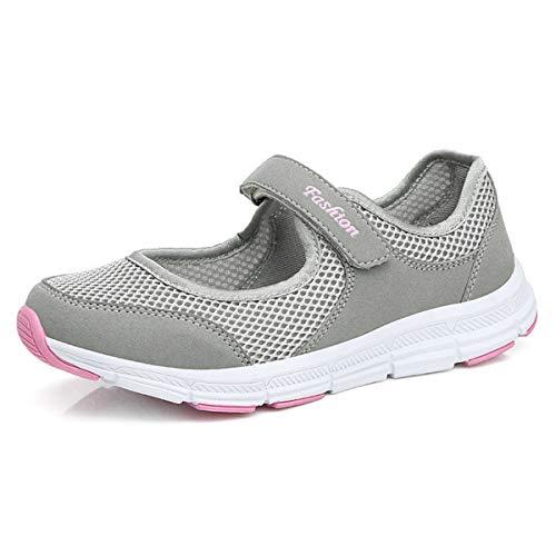 Mocasines para mujer de tejido ligero, elásticos, para correr, caminar, zapatos planos y casuales, para deporte, zapatos de agua para mujer, color Rosa, talla 36.5 EU