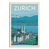 GANZAO Vintage-Reise-Poster, Schweiz, Zürich,