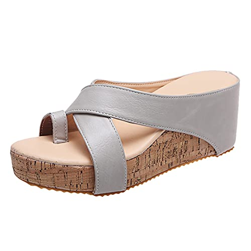 Fullwei Wedges Sandals for Women Women Chunky Platform Wedges Sandals Ladies Bunion Corrector Toe Ring Clog Sandals Casual Walking Beach Sandals Shoe (Gray  8.5)