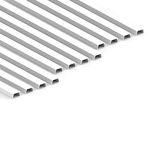 Habengut - Canaleta para Cables (autoadhesiva, 22 x 12 mm, PVC, 12 m de Largo), Color Blanco