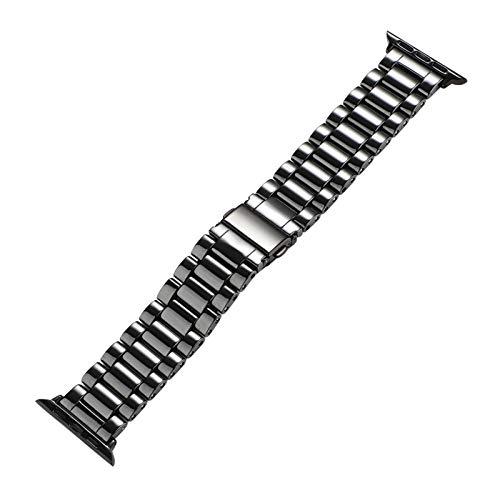 YGGFA Smooth Cerámica Brazalete de la Serie de IWatch Banda for 5 4 3 2 1 Correa de muñeca for de IWatch 40 mm 38 mm 42 mm 44 mm (Band Color : Black, Band Width : For 42 44mm)