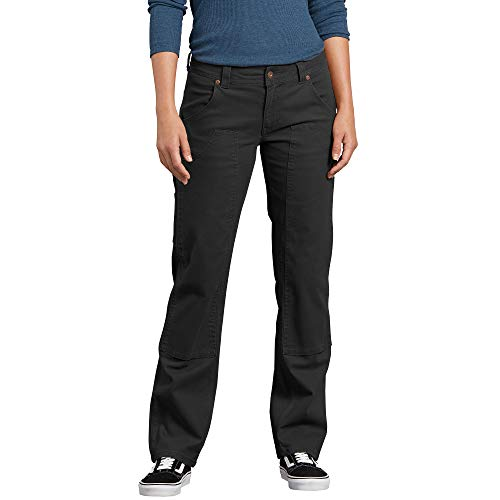 Dickies Women's Relaxed Straight Stretch Duck Double-Front Carpenter Pant, Rinsed Black, 8