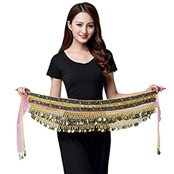 Aibearty Women s Triangular Belly Dance Hip Scarf with Gold Coins Colorful Wrap Skirt Waist Chain Performance Outfit