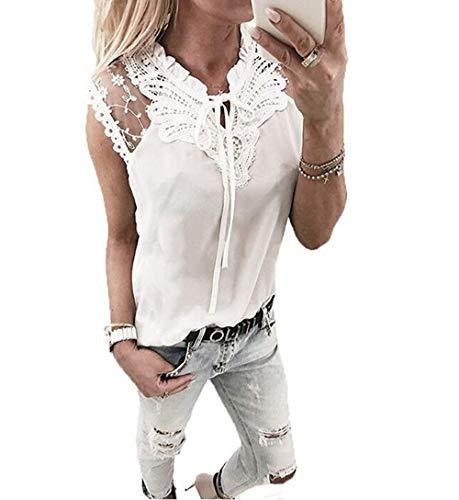 Yutila Damen Chiffon Bluse Hemd mit Spitze, Weiß, M(EU 38)