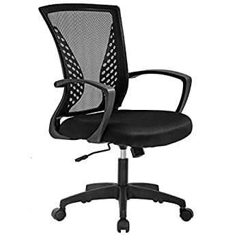 Vnewone Ergonomic Office Chair Desk Computer Mesh Executive Task Rolling Gaming Swivel Modern Adjustable with Mid Back Lumbar Support Armrest for Home Women Men Black