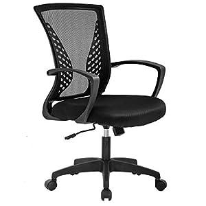 Vnewone Ergonomic Office Chair Desk Computer Mesh Executive Task Rolling Gaming Swivel Modern Adjustable with Mid Back Lumbar Support Armrest for Home Women Men, Black