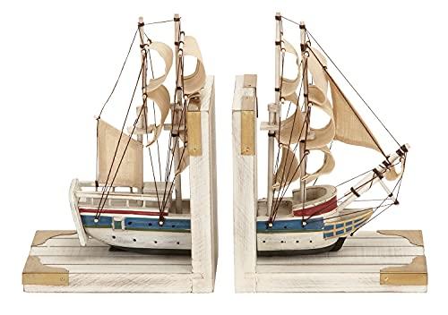 Deco 79 Nautique côtier Serre-Livres comme Un Blanc Navire de Commerce