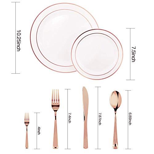 175 PCS Rose Gold Plastic Plates with Disposable Plastic Silverware, Plastic Tableware sets-25 Dinner Plates,25 Salad Plates,25 Forks, 25 Mini Forks,25 Knives, 25 Spoons,25 Napkins (Rose Gold)