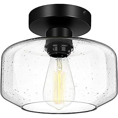 Industrial Semi Flush Mount Ceiling Light, 750 Lumen LED Bulb Included, Seeded Glass Shade Ceiling Light Fixture, Farmhouse Light Fixture for Hallway Corridor Kitchen Bathroom Bedroom Passway
