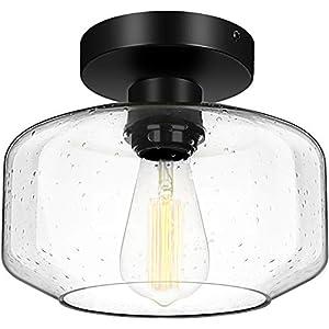 Industrial Semi Flush Mount Ceiling Light, 800 Lumen LED Bulb Included, Seeded Glass Shade Ceiling Light Fixture, Farmhouse Light Fixture for Hallway Corridor Kitchen Bathroom Bedroom Passway