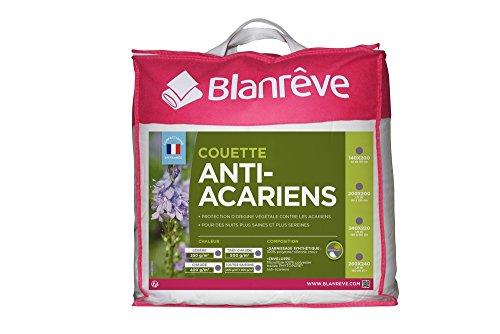 Blanrêve - Couette légère ou estivale 250g/m² - Anti acariens - à base d'huiles essentielles -Blanc, 240x220 cm