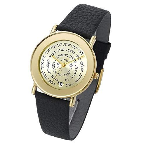 Amaizing hebreo israelí famoso citas bíblicas oro y cuero Adi Judaica Relojes