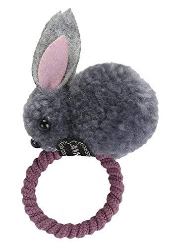Plus Nao(プラスナオ) ヘアゴム 髪ゴム ヘアクリップ レディース 髪飾り ヘアアクセサリー 髪留め ヘアピン うさぎ ウサギ もこもこ 立体的 - 5グレー×ヘアゴム