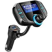 Bluetooth Fm Transmitter for car, Bluetooth Car Transmitter 1.7 Inch Display, QC3.0/2.4A Dual USB Ports, AUX Input/Output, Mp3 Player.