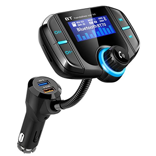 Wireless Bluetooth FM Radio Adapter Car Kit with Hands-Free Calling Bluetooth FM Transmitter for Car, Black 5V//2.4A/&2.4 Concealled Dual USB Charging Ports. Rotating Design