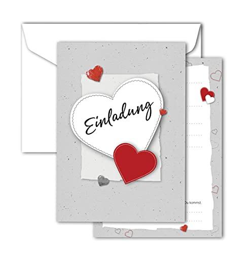 RotfuchsDesign, Einladung mit Herz, 12 Einladungskarten, Geburtstag, Party, Jubiläum, Abschied, Erwachsene, Frau, Mädchen, zum Ausfüllen, mit Umschlägen, modernes Design, DIN A6