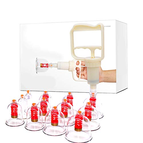 JKANGH 12 Cups Cupping Set Plastic, Vacuum Suction Chinese Acupoint Therapy, Home Medical, Best for Reducing Muscle Joint Pain, Shoulder Back Knee Pain