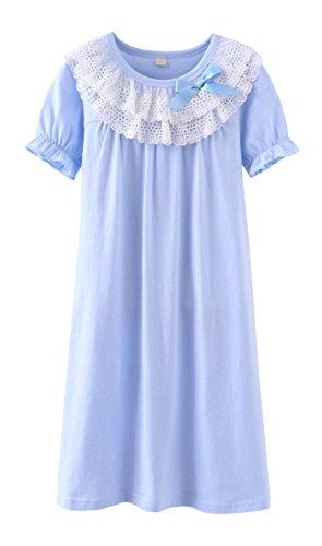ABClothing Neue Mädchen Prinzessin Nachthemd Blue Cotton Night Dress Lace Bow 10-11 Jahre