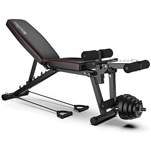 Banco de peso multifunción, banco de entrenamiento ajustable, cuerpo sólido pierna extensión pierna Curl Machine, para entrenamiento de cuerpo completo, carga máxima 200 kg (carga aérea)